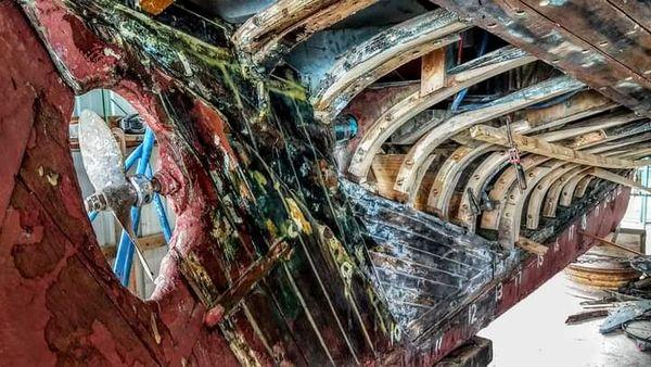 Wooden Boat Hull Under Repair thumbnail