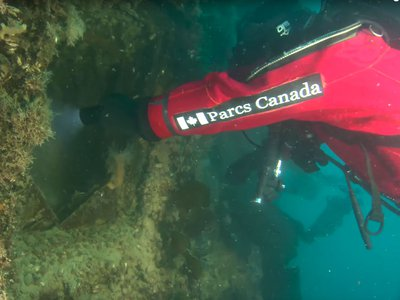 Marine archaeologists explore the HMS Terror on the seafloor of the Arctic Ocean. To get a look inside the ship, divers deployed a remotely operated vehicle, or ROV.