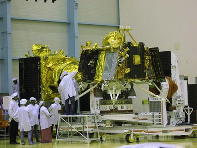 The moon lander Vikram in the foreground and the orbiter Chandrayaan- in the background during preparation of the spacecraft for launch, June 10, 2019.