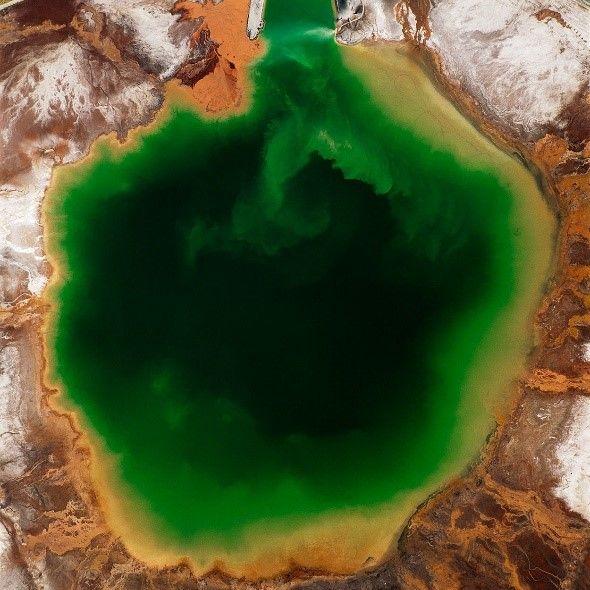 Green gold mine waste pond