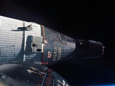 This view of Gemini VII from VI-A in December 1965 shows the spacecraft's orbital configuration.