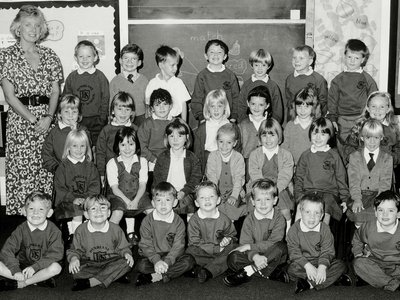 On March 13, 1996, a gunman murdered 16 students and their teacher at Dunblane Primary School in Scotland. Pictured: the class of 5- to 6-year-olds and their teacher, Gwen Mayor