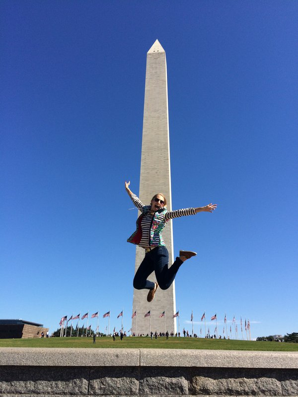 Jumping for joy at the Washington Monument  thumbnail