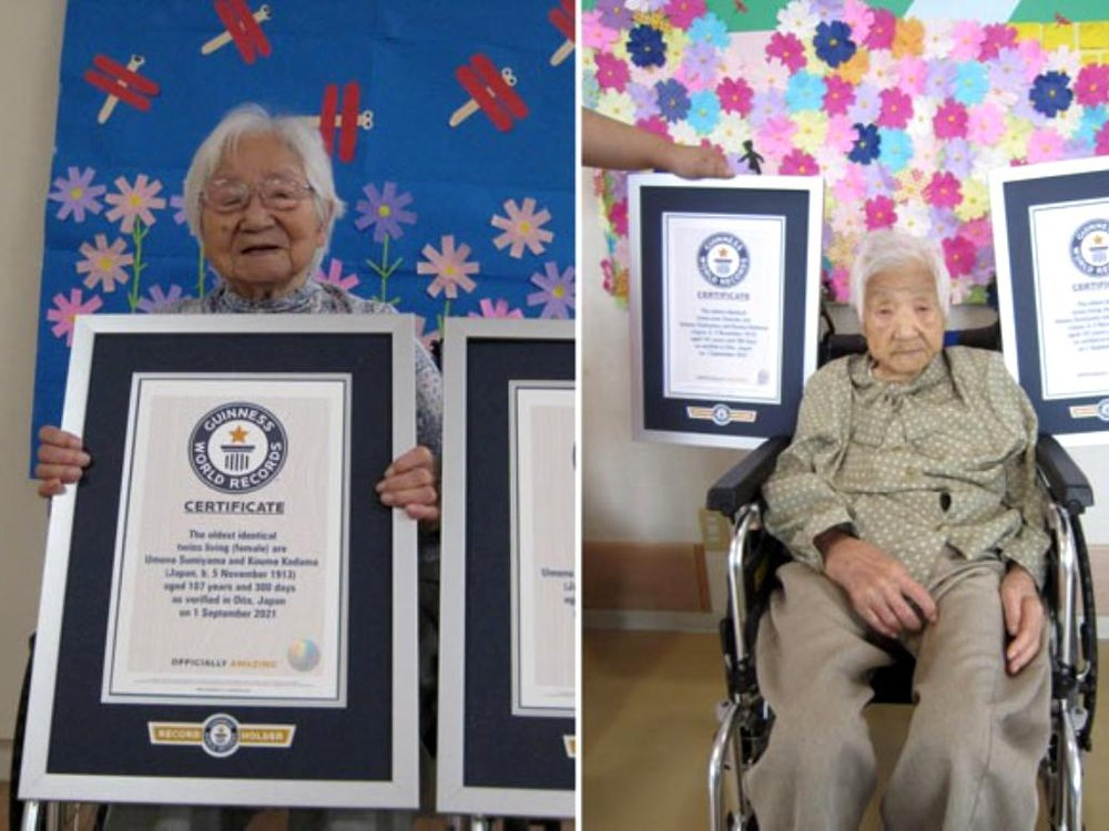 Umeno (left) and Koume (right) with their official certificates