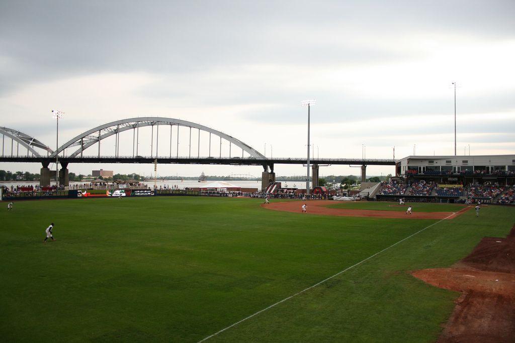 "Quad City River Bandits' baseball stadium, Davenport, Iowa. (Courtesy of <a href=https://www.flickr.com/photos/nekonomist/"">Nekonomist</a>)"