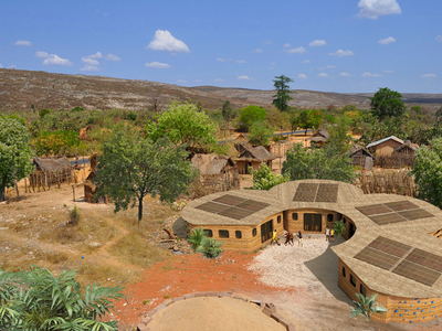 Because of their honeycomb shape, the huts can fit together like a beehive, expanding to fit growing needs.
