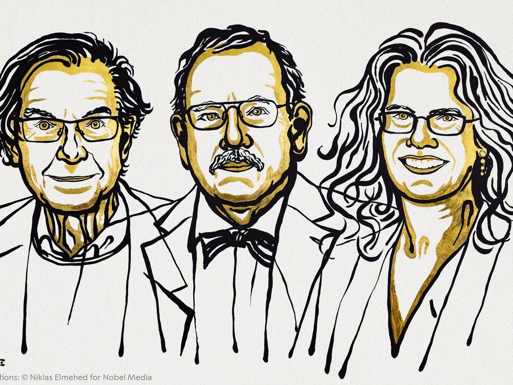 A black and yellow line drawing of the three Nobel laureates in physics. Roger Penrose is on the left, Reinhard Genzel is in the middle, and Andrea Ghez is on the right.