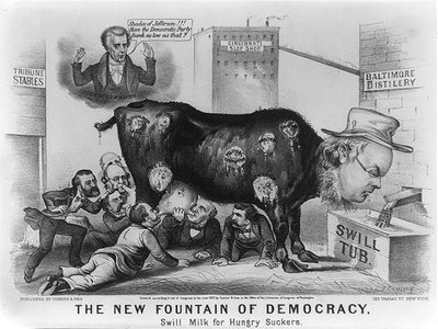 A lithograph from printers Currier & Ives depicted swill milk as the root of many vices