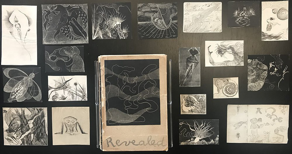 Image showing a selection of etchings by Ian Hugo and a letterpress book with text by Anais Nin