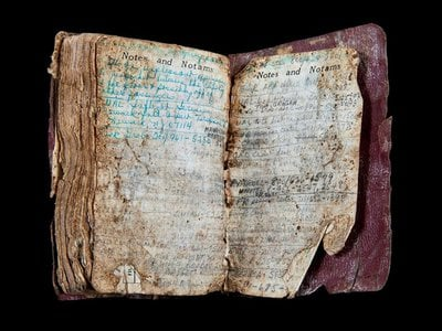Flight attendant Lorraine Bay carefully recorded every flight she worked in this log book, found near the wreckage of Flight 93 in Shanksville, Pennsylvania.