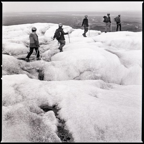 Group hiking on a glacier in Skaftafell National Park in Iceland thumbnail