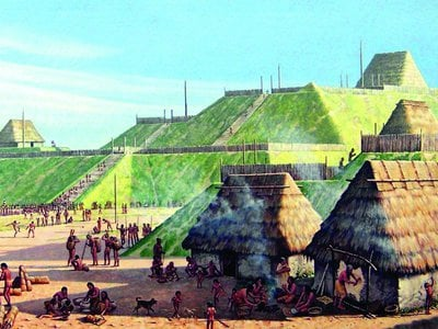 The Cahokia Mounds along the Mississippi River in Illinois is the site of the largest pre-Colombian Native American city built in the United States.