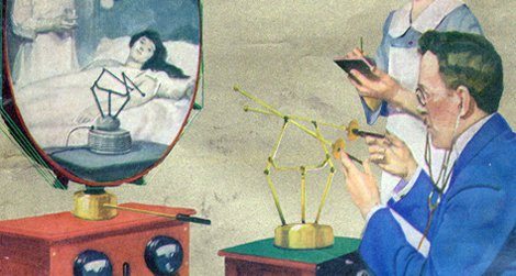 """A doctor's diagnosis """"by radio"""" on the cover of the February, 1925 issue of Science and Invention magazine"""