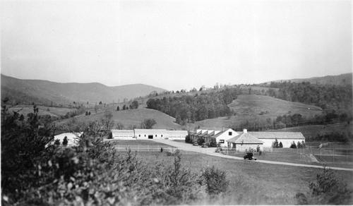 Black and white photo of museum storage headquarters
