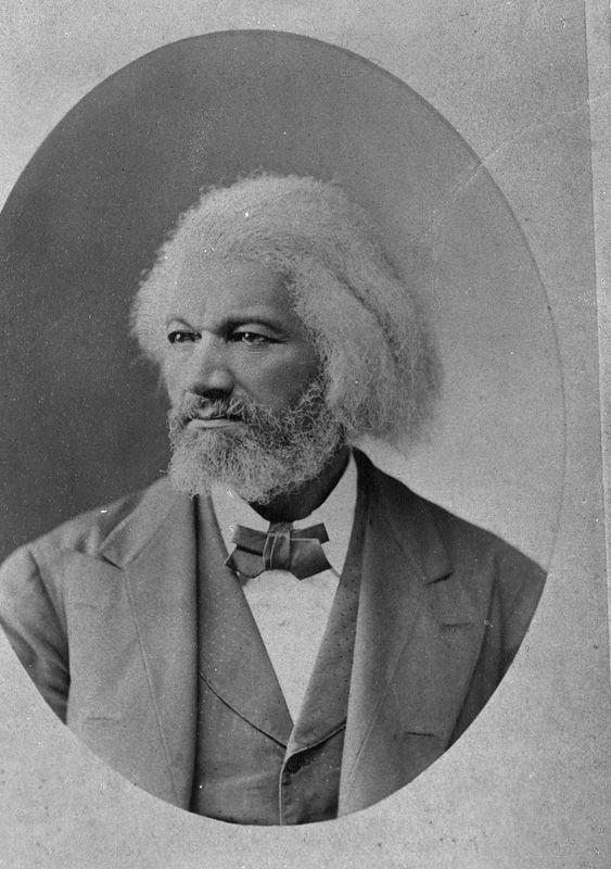 Black and white portrait of Frederick Douglass