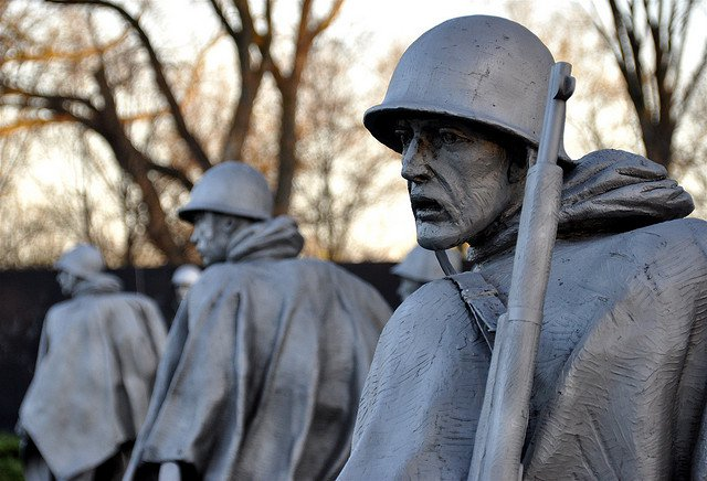 Soldiers at the Korean War Veterans Memorial