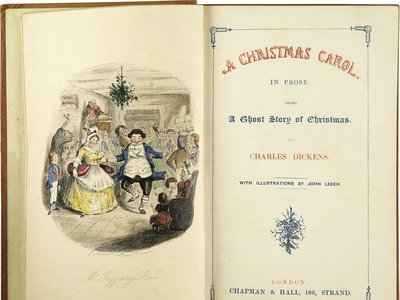 The first edition of A Christmas Carol. The illustration on the left is of Mr. Fezziwig's ball, one of Scrooge's good memories.
