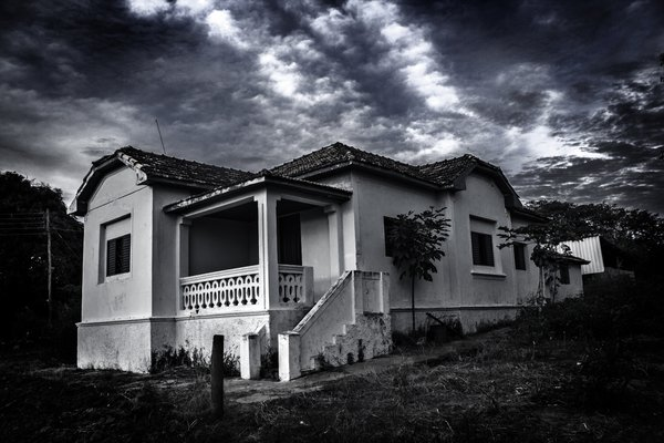An abandoned house in a site of a country town. thumbnail