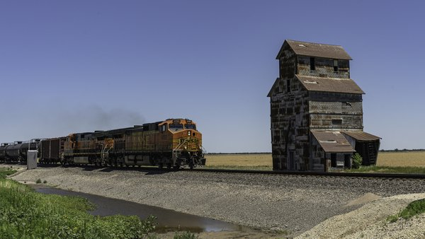 Old Grain Elevator and a New Train thumbnail