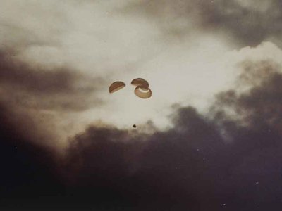 On April 17, 1970, the parachutes carrying the Apollo 13 spacecraft and its crew cleared the clouds and the world breathed a collective sigh of relief.