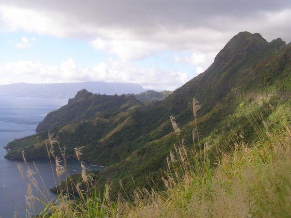 A View Of The Island of Hiva Oa  On The Razor Back Ridge Above The Village of Hopatoni, Tahuata, The Marquesas thumbnail