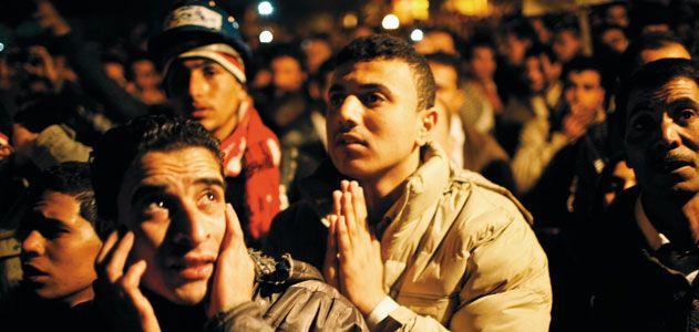 Anti Mubarak demonstrators