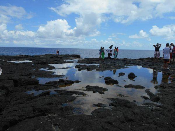 Reflection of the sky at Alofaaga Blowholes in Savai'i, Samoa. thumbnail