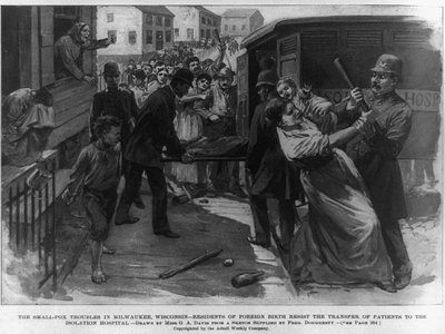 Smallpox raids, like this one in Milwaukee, focused on immigrant families.