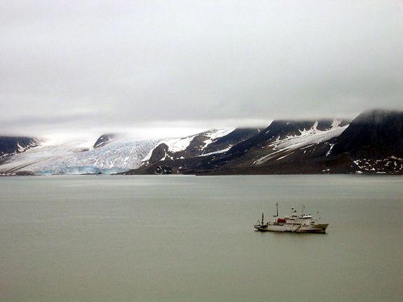 The Professor Molchanov sails off the coast of Svalbard.