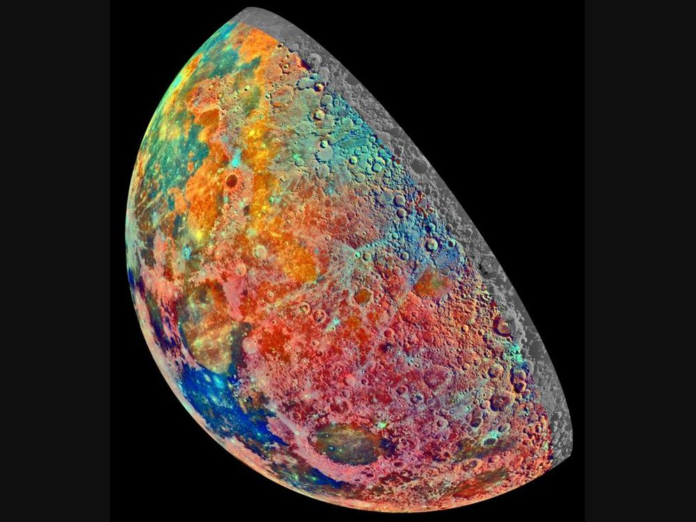 An image of Earth's Moon taken by the Galileo spacecraft. The image shows the left side of the Moon. The surface is a mosaic of vivid colors ranging from blue, red, orange, pink, and light green.