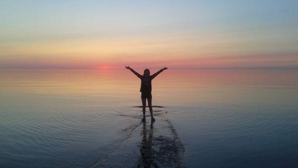 Walking on water at Sunset thumbnail