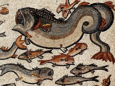 This mosaic featuring fish was likely laid down in A.D. 300 in what is now the Israeli town of Lod.