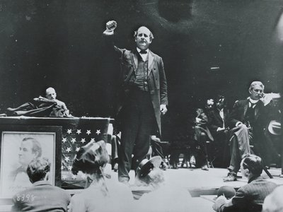 """""""We have submitted the issue to the American people and their will is law,"""" wrote Democrat William Jennings Bryan (pictured here on the campaign trail) in an 1896 telegram to Republican William McKinley."""