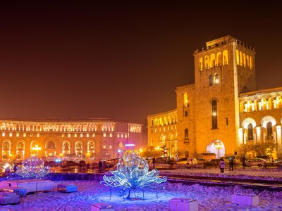 Republic Square in Yerevan decorated for Christmas.