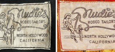 Nudie's Rodeo Tailors original label featured a topless cowgirl (left) who got a fringed bolero in 1963.