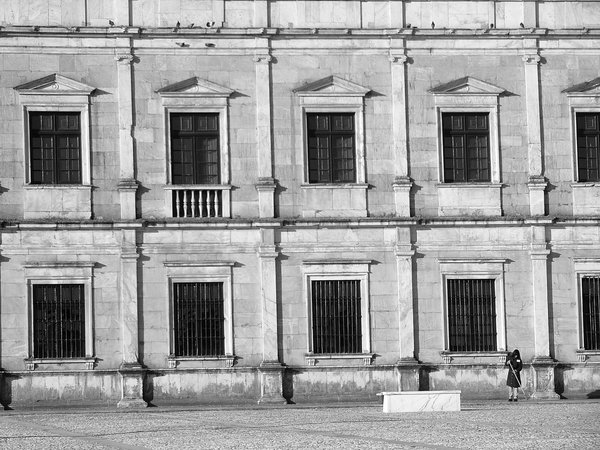 An employee cleaning the entree of a palace that belonged to one of the last kings of Portugal. thumbnail