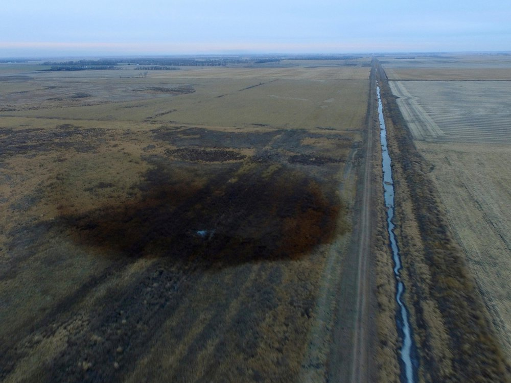 This aerial photo shows spills from TransCanada Corp.'s Keystone pipeline leak