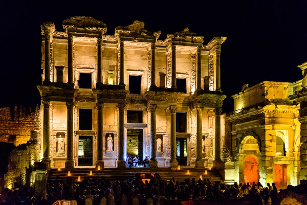 Ephesus library at night with string trio thumbnail