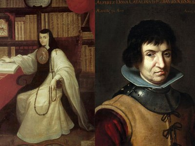"""""""Wise and Valiant: Women and Writing in the Golden Age of Spain"""" spotlights Sor Juana Inés de la Cruz (left) and Catalina de Erauso (right), among others."""