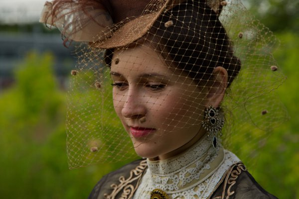 Portrait in a 19th century costume. thumbnail