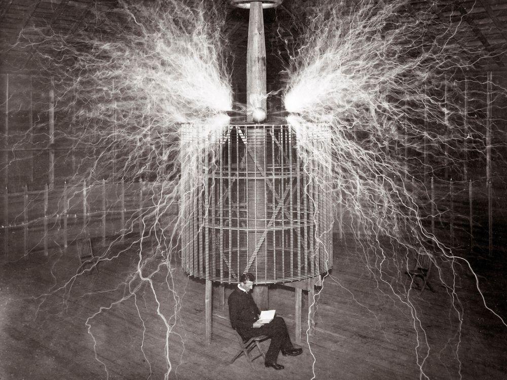 Nikola Tesla in Colorado Springs Laboratory, Double Exposure