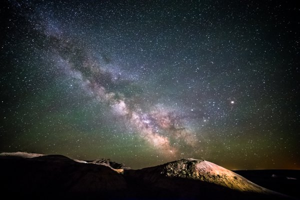 Milky Way Rises over Yellow Mounds in Badlands National Park thumbnail