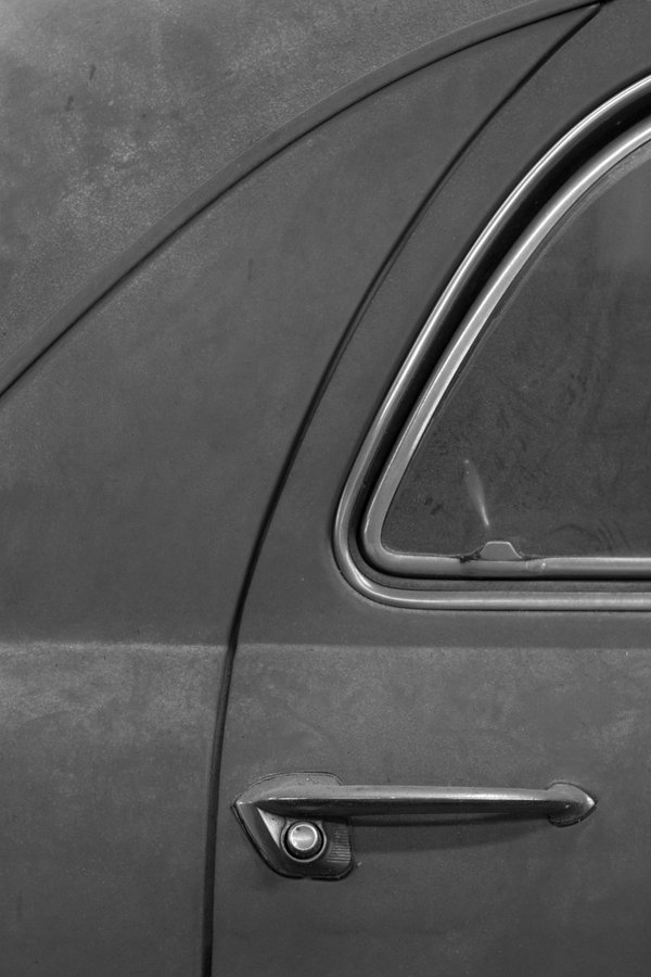 Detail on a 1954 Ford - Black and White  thumbnail