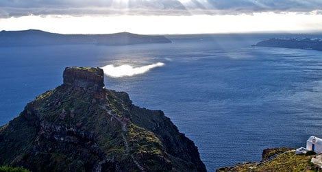 The Caldera of Santorini is today a ring of islands in the Aegean.
