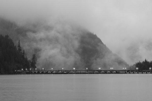 Mist rising at the dam thumbnail