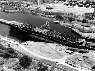 USS Ranger traverses the Panama Canal during World War II