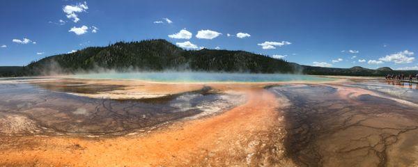 Grand Prismatic Spring while visiting Yellowstone National Park thumbnail