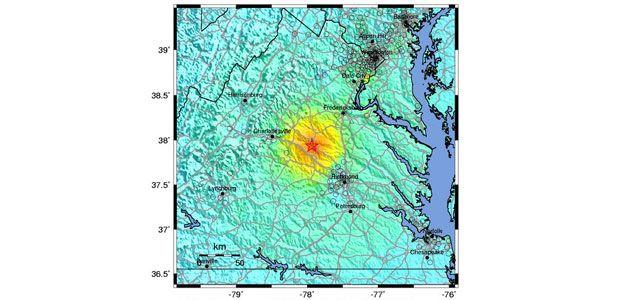 East Coast earthquake epicenter map