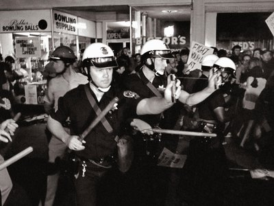 """Oakland police use Mace during Oakland's """"Stop the Draft Week"""" October 16, 1967, the largest anti-Vietnam war protest in the San Francisco bay area to that date, in downtown Oakland."""