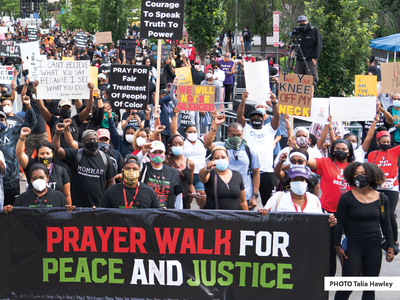In June 2020, a protest against racial injustice and police brutality made its way through the streets of Washington, D.C. Photographer Talia Hawley submitted this photo as part of the Anacostia Community Museum's Moments of Resilience storytelling project. PHOTO Talia Hawley